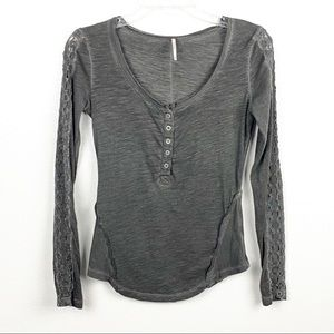 Free People Tops - Free People Charcoal Gray Lace Long Sleeve Tee